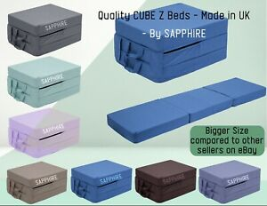Fold Out Adult Cube Guest Z Bed Chair CUBE Single Futon Chair bed Foam Mattress