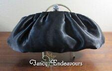 Jessica McClintock Black Satin Rhinestone Clutch Shoulder Frame Bag.......CEM