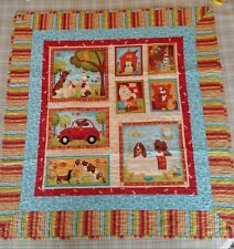 "Hand made Caleb Lap Quilt 34"" x 31"" Dogs Patterns Red Orange Teal"