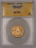 1896-M Australia One Sovereign Gold Coin ANACS AU-50