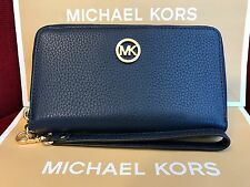 NWT MICHAEL KORS LEATHER FULTON LG FLAT MF PHONE CASE WRISTLET/WALLET IN NAVY