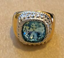 Joan Rivers Two-Tone Twisted Cable Ring - Aqua - Size 7