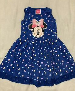 Girls Disney Minnie Mouse Navy Polka Dot Summer Dress Age 3 Years Worn Once!