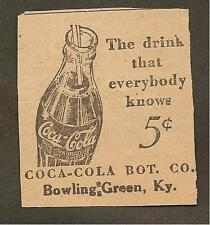 VINTAGE AD CLIPPED FROM NEWSPAPER - COCA-COLA BOTTLING CO. - 1939