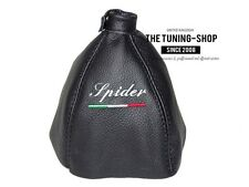 "For Alfa Romeo Spider 06-10 Shift Boot Black Leather ""Spider"" Embroidery"