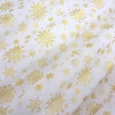 Stoff Meterware Baumwollstoff creme gold Eiskristall Schneeflocke Weihnachten