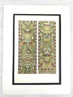 1857 Antique Print Italian Embroidered Silk Tapestry Hanging 16th C Monkey