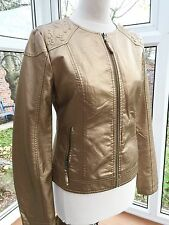Frime Gold Metallic Faux Embossed Leather Biker Jacket Size M BNWOT