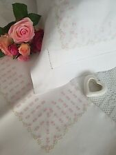bed sheet in pure linen with hand embroidery full stitch