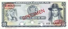 Peru 50 Soles Currency Banknote 1968 Specimen CU