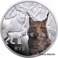 2010 POLAND SILVER PROOF COLORED LYNX, LOW MINTAGE, BRILLIANT UNCIRCULATED