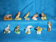 BIRDS Perching SONGBIRDS Set 10 Figurines FRENCH Porcelain FEVES Figures MATTE