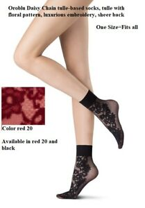 Oroblu Daisy Chain tulle-based socks, tulle with floral pattern, luxurious