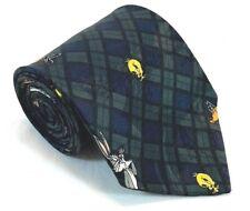 "Looney Tunes Mania Mens Tie Necktie 100% Polyester 58"" 4"" Plaid Green Blue Black"