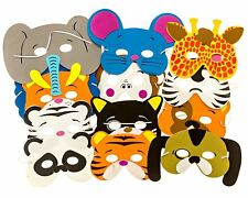12 Foam Jungle Animal Face Mask - Fancy Dress/Party Kids Bag Fillers - Assorted