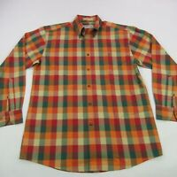 Orvis Button Down Shirt Mens Long Sleeve Orange Red Checks Pocket Medium