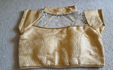 Readymade Saree Blouse, Designer Sari Blouse, Golden Net Blouse,Choli, Crop Top