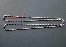 70cm collana base catena a pallini sfere 3.2mm acciaio inox colore argento scuro