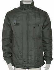 MENS KHAKI GREEN PADDED QUILTED  COAT OVER COAT S ONLY - END OF LINE RRP £42.99