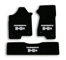 2003-2007 Hummer H2 - Black Classic Loop Carpet 3pc Mats - Silver Hummer H2 Logo