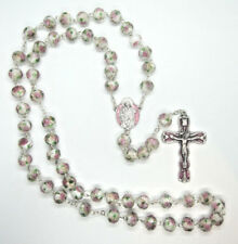 """Rosary Faceted Crystal Beads White with Pink Roses 21""""  Italy"""