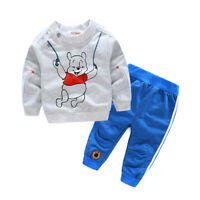 Kids Baby Boy Autumn Sport Suits Bear Printed Tops Pants Clothes Outfit Set NEW