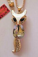 NEW! Betsey Johnson Crystal Rhinestone Enamel Fox Necklace Pendant