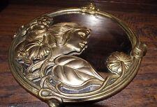 17072 ~ Vintage Art Deco Brass Mirror ~ Lady ~ Vanity / Shaving ~   Circa 1920's