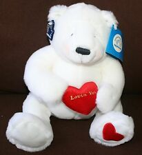 Applause Lovin You White Plush Bear Hang tags red heart New