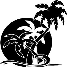 Palm tree vinyl decal, palm tree sticker, palm tree montage vinyl wall art