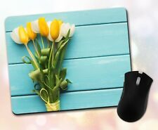 Flower Mouse Pad • Tulip Bouquet Wooden Planks Colorful Decor Desk Accessory