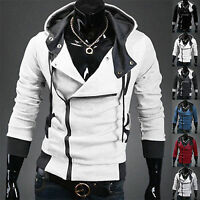 Men's Long Sleeve Zipper Hoodie Sweatshirt Sweater Jumper Top Hooded Jacket Coat