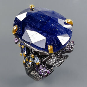 Handmade Jewelry Blue Sapphire Ring Silver 925 Sterling  Size 8.25 /R172837