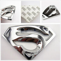 Silver Pierced 3D Superman Badge Logo Vehicle Tank Cap 3M Sticker For Mitsubishi