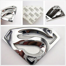 Silver Pierced 3D Superman Badge Logo Vehicle Tank Cap 3M Sticker For Mitsubishi