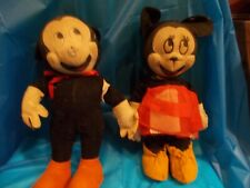 """VINTAGE ORIGINAL """"MICKEY & MINNIE"""" MOUSE PLUSH TOYS BY GUND MFG.CO.(EARLY ONES)"""