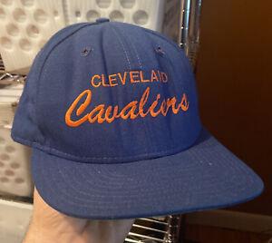 Vintage Cleveland Cavaliers Snapback Hat NBA Script 90s Dome 1990s 80s 1980s