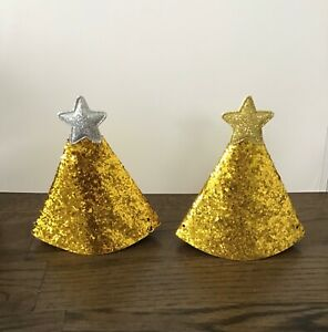 Gold Birthday Party Hat small Gold Glitter BNIP UK 🇬🇧 SELLER FREE POSTAGE