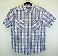 H & M Short Sleeve Men's X-Large Button Up Shirt Purple Black White Gray Plaid