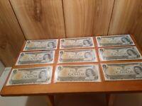 Canada 1 dollar bank notes 1973 series LOT of 9 uncirculated bills