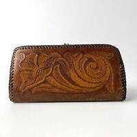 Tooled Leather Wallet Coin purse Brown Floral Western Vintage Rockabilly