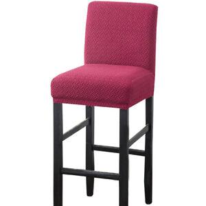 Twill Jacquard Bar Stool Chair Cover Short Back Seat Chair Slipcover 1/4/6pcs