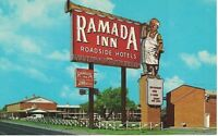 Postcard TX Ramada Inn Roadside Hotels Street View Vintage Chrome