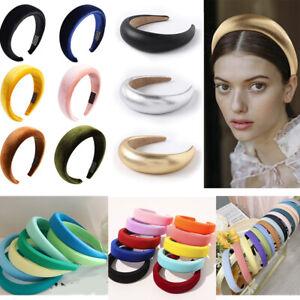 Women's Velvet Headband Padded Hairband Wide Sponge Hair Hoop Band Head Decor AU