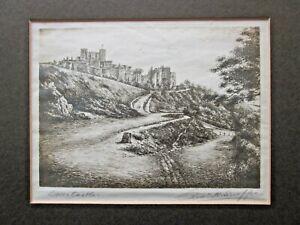 Vintage Dover Castle Kent Etching Signed Indistinctly Swoffen?