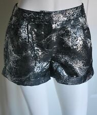 ASOS Silver & Black Shimmer Party Club Shorts Pants UK 6 EU 34 BNWT