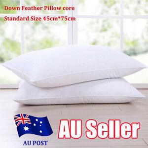 High-grade Down Bed Pillow Goose Feather Down Pillow Cotton Cover Contour Neck