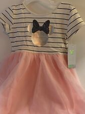 Disney Toddler Girls 3T Dress Minnie Mouse Pink Tulle Short Sleeve New