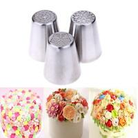 3Pcs Russian Tulip Flower Cake Icing Piping Nozzles Decorating Tips Baking Tools