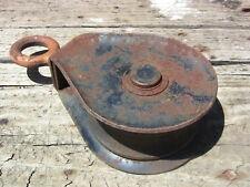 "Vintage Industrial Pulley Rustic Cast Iron Wheel Hook Swivel Eye McKissick RB 9"""